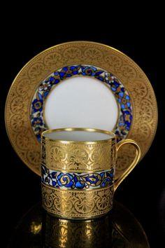 Antique french art nouveau limoges f paulhat demi tasse cup saucer Antique Tea Cups, Vintage Cups, Vintage Tea, Tea Cup Set, My Cup Of Tea, Tea Cup Saucer, Tea Sets, Art Nouveau, Teapots And Cups