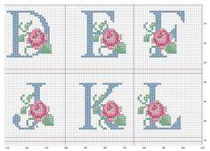 Ponto Cruz -Abecedário Rosas (D,E,F,J,K,L)