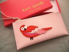 KATE SPADE SAFFIANO LEATHER CLUTCH LARGE WALLET PINK BIRD