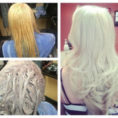 """Hairstylist Dustin Stone. Client w/colored 6-7 hair, & highlights. Lighten in 4 quadrants w/ Schwarzkopf Professional Blondme 9+ and 20 vol., keep lightener ~1"""" from scalp. Process 45 min. at room temp. Apply Schwarzkopf Professional Blondme 9+ and 7 vol. to zone 1 (re-growth area). Process 30 min. Rise & shampoo with Schwarzkopf Bonacure Fibre Force. Toner: 30g Ice, 20g Steel Blue, and 12g Lilac Blondme Toning Creams mixed in equal parts with 7 vol. Apply to damp hair; process 25 min."""