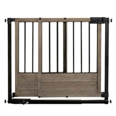 Inspired by the latest trends in rustic home design & décor, this gate features a sliding barn door design, and is made of solid wood and wrought iron. Gate swings open for a walk-thru opening almost the full width of your doorway. Featuring our Step-to-Secure Technology, Rustic Home can be installed in 3 easy steps. A hardware kit is included for use at the top of stairs, making this gate perfect for just about anywhere in your home.<br><br>Comes with everything you ...