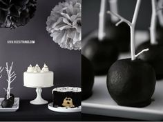 Nicest Things: Halloween Sweet Table in Black and White / Black Caramel Candy Apples DIY Decoration Idea