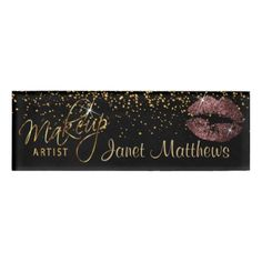 Dark Dusty Rose Glitter Lips and Elegant Gold Name Tag - professional gifts custom personal diy