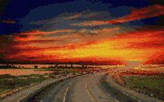 free cross stitch highway sunset
