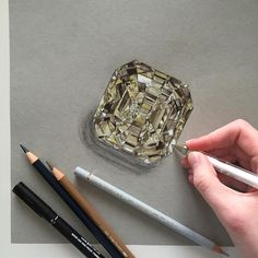 "2,474 Likes, 32 Comments - Phoebe Atkey (@phoebeatkey) on Instagram: ""Working on a few more illustrations for @thelmawestdiamonds. Here is a yellow 14ct loose diamond.…"""