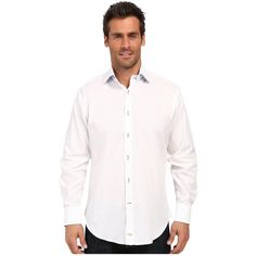 Thomas Dean & Co. White Twill Solid Button Down Sport Shirt (White)... ($125) ❤ liked on Polyvore featuring men's fashion, men's clothing, men's shirts, men's casual shirts, mens short sleeve button down shirts, mens sport shirts, mens button shirts, mens short sleeve button down casual shirts and mens short sleeve button up shirts