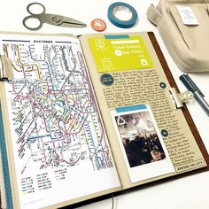 Midori Traveler's Notebook ideas and layouts. Inspiration for keeping a travel journal, art journal or scrapbook