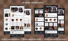 F-mail Template  #GraphicRiver        F-Mal Template   2 Color Version (Dark and Light).  6 Full PSD files.  9 PSD elements for one template.  Easy customisation  Well organized layer  600 Pixel Width  HTML Version on Themeforest  	 Model picture are not included within the final design files.  Thank you     Created: 12December12 GraphicsFilesIncluded: PhotoshopPSD HighResolution: Yes Layered: Yes MinimumAdobeCSVersion: CS5 Tags: business #clean #ecommerce #e-shop #emailmarketing #emailpsd…