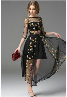 Hot Black Embroidery Morning Glory Long Sleeve Gauze Runway Formal Dress Mesh Embroidered Maxi Boutique Dress Big Show Catwalk Full Dress From Megagoods, $36.19 | Dhgate.Com