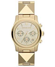 Michael Kors Watch, Womens Chronograph Runway Pyramid Stud Gold-Tone Stainless Steel Bracelet 38mm MK5797