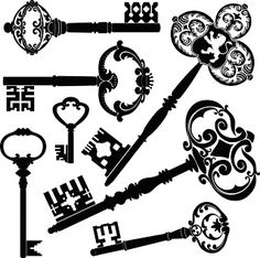 Clip Art of Antique keys - Search Clipart, Illustration Posters, Drawings, and EPS Vector Graphics Images - Silhouette Cameo, Antique Keys, Vintage Keys, Retro Vintage, Cles Antiques, Stencils, Old Keys, Instagram Baddie, Free Vector Graphics