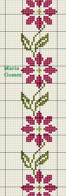 Linhas e Pontos: Os Meus Gráficos de Ponto Cruz Cross Stitch Bookmarks, Cross Stitch Borders, Cross Stitch Rose, Cross Stitch Flowers, Cross Stitch Designs, Cross Stitching, Cross Stitch Embroidery, Embroidery Patterns, Cross Stitch Patterns