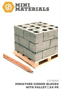1:12 Scale | The ultimate miniature cinder block package! 24 cinder blocks arranged on a pallet like you see at the big box stores.