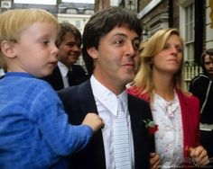Paul with James and Linda arriving for Ringo and Barbara's wedding 4-27-1981