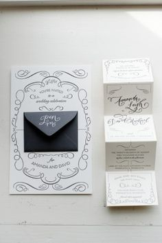 Amanda + David's Whimsical Accordion Fold Wedding Invitations | Watermark Stationery | Calligraphy: Crystal Kluge | Photo: Matt Blum Photography