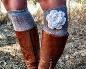 Grey Lacy Boot Socks with Ivory White Knitted Flower Open Knitted Socks Boot Socks Knee Highs with Flower