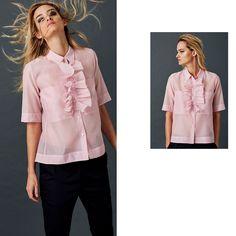 Short Sleeve Shirt in Cotton Silk Organza Silk Organza, Cotton Silk, Fashion Brand, Ruffle Blouse, Spring Summer, Spirit, Sleeve, Modern, Collection