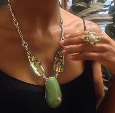 Stephen Dweck one of a kind necklace and a ring from his Icy Diamond collection.