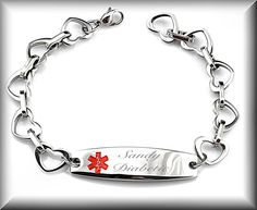 Stainless Steel Heart Link With Medical ID Engraved Free on Etsy, $24.99