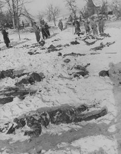 Bodies of American prisoners executed in Belgian town of Malmedy (Malmedy).