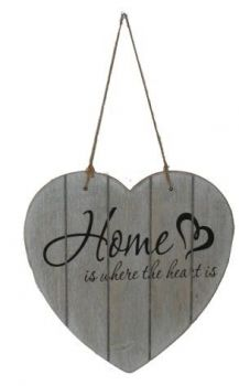Türschild - Home is ... - grau