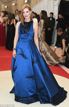 Beauty in blue: Jessica Chastain went for a princess feel in her gorgeous ballgown...
