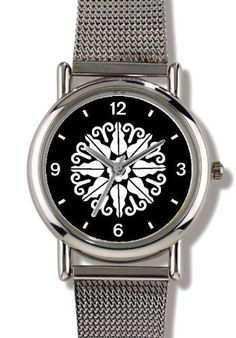 Floral Design (White on Black) 14 - WATCHBUDDY® ELITE Chrome-Plated Metal Alloy Watch with Metal Mesh Strap - Small ( Children's Size - Boy's Size & Girl's Size ) WatchBuddy. $79.95