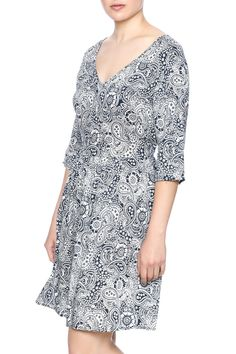 "Navy paisley printed dress with a v-neckline, elastic empire waist, 3/4 sleeves and a knee hemline.    Approx. Measures: 20"" long from waist to bottom hem.   Paisley Print Dress by Piko 1988. Clothing - Dresses - Printed Clothing - Dresses - Casual Clothing - Dresses - Short Sleeve Georgia"