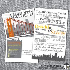 Printable Wedding Invitation and RSVP postcard - San Francisco Skyline Theme