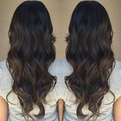 Caramel balayage dark hair More