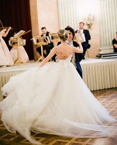 """50 Photos to Take of Your Wedding Dress First Dance """"Get lots of full-length options while you're dancing! The first dance is such a romantic moment, and the movement of the dress is really at its best,"""" say the pros at Mon Amie Bridal Salon. Perfect Wedding, Dream Wedding, Wedding Fotos, Black Tie Wedding, Trendy Wedding, Martha Stewart Weddings, First Dance, Romantic Weddings, Destination Weddings"""