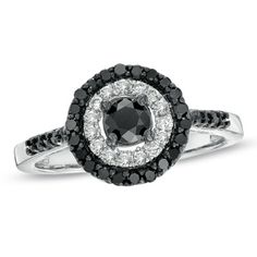 Black Mystique Diamond Double Frame Ring in 10K White Gold
