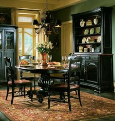 The indigo creek round pedestal dining room table set is constructed of solid hardwood and veneers with a black rub through finish. & Paint dining room set black - leave top as wood and glass - | Ideas ...