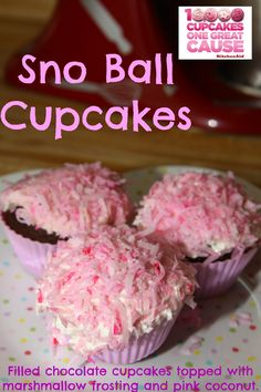 Sno Ball Cupcakes with Devils Food Cake, marshmallows, and coconut. #10000cupcakes
