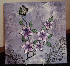 Altered Art Canvas made with Sheena Douglass Stamps
