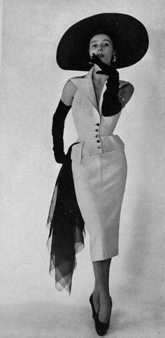 Bettina in tailored alpaca cocktail dress by Jacques Fath, photo Georges Saad, 1950. #vintage #1950s #fashion #hats #gloves