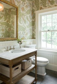 Powder Room with wallpaper and beadboard wainscoting via Morrissey Saypol Interiors Photo by Rob Karosis Interior Ikea, Home Interior, Interior Design, Natural Interior, Interior Colors, Studio Interior, Interior Plants, Apartment Interior, Interior Lighting