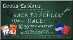 Books 'En More sends you the best deals for a great BACK TO SCHOOL SALE! 10% off every day on selected items. Just use the code: 10ALLDAY during check out. There is no minimum purchase required! So what are you waiting for? Buy now! www.booksenmore.com
