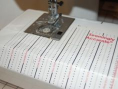 This is a vinyl sheet applied to your sewing machine for seam allowances and such! I'm sure this would be so helpful!