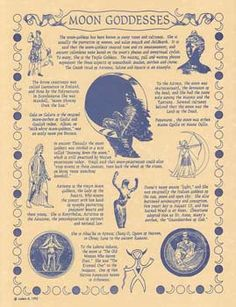 """Moon Goddesses Poster with history and multiple cultures definitions of the Goddess. Quote from poster. """" The Moon-Goddess has been know in many times and cultures. She is usually the protector of wom"""