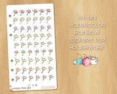 60 Mini Watercolor Stickers for Housework (Feather Duster), Perfect for Filofax Personal and Kikki.k Medium Feather Duster, Watercolor Stickers, Kikki K, Filofax, Medium, Mini, Unique Jewelry, Handmade Gifts, Etsy