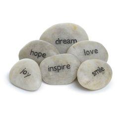 Pocket Pebbles, Set of 6 Words Miniature Zen Garden, Fairy Garden Accessories, 3 D, Stones, Cartoon, Pocket, Words, Rocks, Cartoons