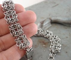 Stainless Steel Celtic Labyrinth Chainmaille Bracelet!! Love this design!!
