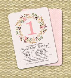 1st Birthday Invitation Girl Baby Girl Pink by SunshinePrintables