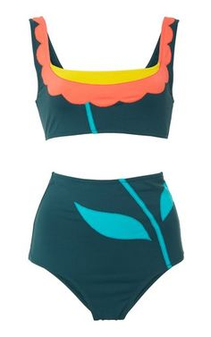 Floral Color Block Bikini Set by Laura Urbinati