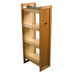 Omega National Tall Pull-Out Wood Pantry, 8-1/2 inch W by National. $679.99. Designed to be trimmed or used at its full 59-1/2 inch height, this Tall Pull-Out Wood Pantry by Omega National features a heavy-duty 3-way adjustable slide with an easy close system. Made of pre-finished maple, this pull-out wood pantry has adjustable shelves and Platinum SeriesTM Powdercoat rails. Able to attach to the door of your choice, this pantry is available in multiple widths and measures ...