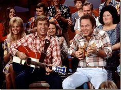 "HEE HAW with Buck Owens, Roy Clark. ""I'm a pickin' and I'm a grinnin'!"""