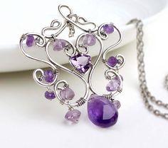 CREATIVITY JEWELLERY - Sterling silver amethyst wire wrap necklace