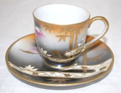 OCCUPIED JAPAN YAMAKA CHINA TEA CUP AND SAUCER SET FLORAL GOLD TRIM | eBay