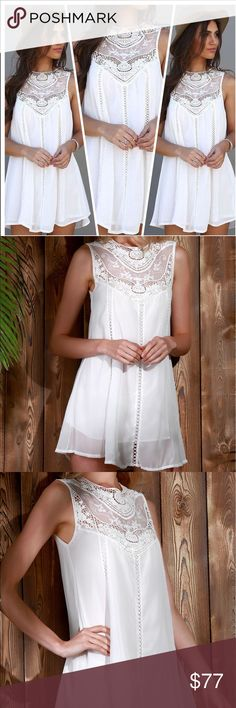 """COMING SOON Mini Flowy White Lace Dress LIKE TO BE NOTIFIED WHEN DRESS COMES IN STOCK. Brand new. Sleeveless, mini mini, round neck, a-line. S- Bust: 35.43"""" Length: 31.89 👗L- Bust: 38.58"""" Length: 32.68"""" Dresses Mini"""